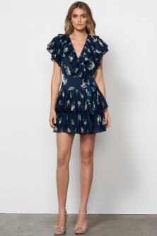 Midnight Blooms Wrap Mini Dress Navy